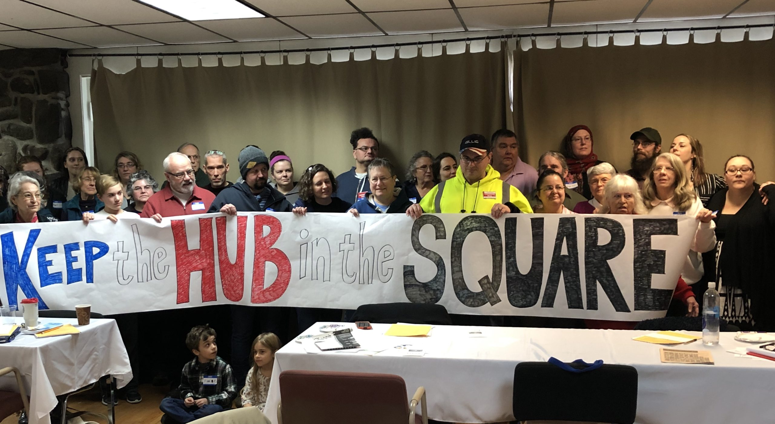 FAM members showing support to keep the bus hub in its current downtown Bangor location. January 2020